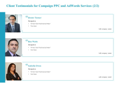 Client Testimonials For Campaign PPC And Adwords Services Testimonials Rules PDF