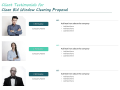 Client Testimonials For Clean Bid Window Cleaning Proposal Ppt File Example PDF