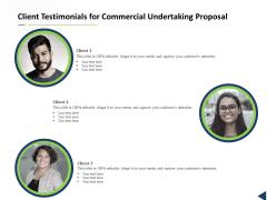 Client Testimonials For Commercial Undertaking Proposal Ppt Infographics Portrait PDF