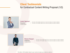 Client Testimonials For Contractual Content Writing Proposal Team Ppt PowerPoint Presentation Examples PDF