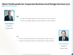 Client Testimonials For Corporate Business Card Design Services Business Structure PDF