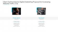 Client Testimonials For Digital Marketing Proposal For Increasing Website Traffic Communication Ideas PDF