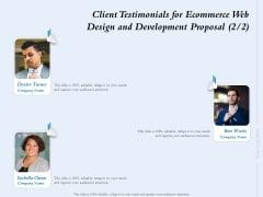 Client Testimonials For Ecommerce Web Design And Development Proposal Communication Ppt Styles Master Slide PDF