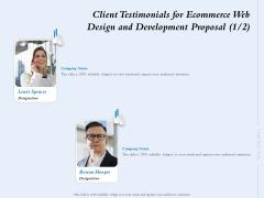 Client Testimonials For Ecommerce Web Design And Development Proposal Ppt Model Master Slide PDF