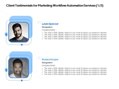 Client Testimonials For Marketing Workflow Automation Services Management Ppt PowerPoint Presentation Slides Vector PDF