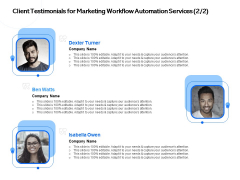 Client Testimonials For Marketing Workflow Automation Services Planning Ppt PowerPoint Presentation Gallery Tips PDF