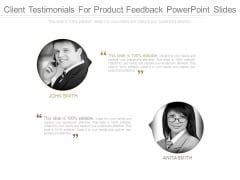 Client Testimonials For Product Feedback Powerpoint Slides