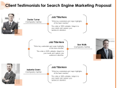 Client Testimonials For Search Engine Marketing Proposal Team Ppt PowerPoint Presentation Gallery Display PDF