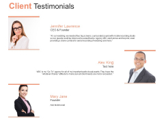 Client Testimonials Marketing Ppt PowerPoint Presentationmodel Brochure