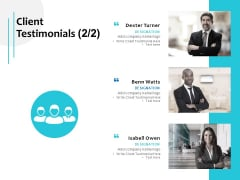 Client Testimonials Planning Team Ppt PowerPoint Presentation Infographic Template Template