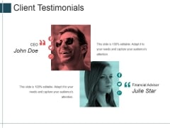 Client Testimonials Ppt Powerpoint Presentation Model Good