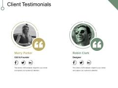 Client Testimonials Ppt PowerPoint Presentationmodel Brochure