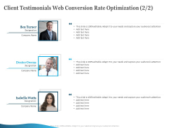 Client Testimonials Web Conversion Rate Optimization Strategy Ppt PowerPoint Presentation Infographic Template Background Designs PDF