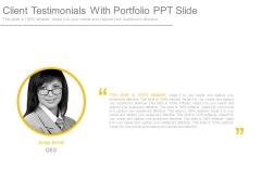 Client Testimonials With Portfolio Ppt Slide