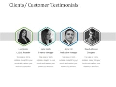 Clients Customer Testimonials Ppt PowerPoint Presentation Model Information