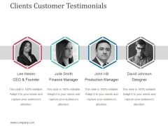 Clients Customer Testimonials Ppt Powerpoint Presentation Show Outfit
