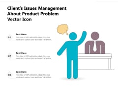 Clients Issues Management About Product Problem Vector Icon Ppt PowerPoint Presentation Gallery Template PDF