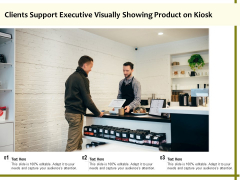 Clients Support Executive Visually Showing Product On Kiosk Ppt PowerPoint Presentation Model Graphics PDF