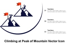 Climbing At Peak Of Mountain Vector Icon Ppt PowerPoint Presentation Show Ideas PDF