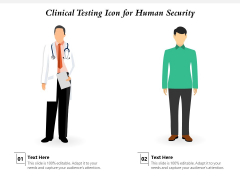 Clinical Testing Icon For Human Security Ppt PowerPoint Presentation Gallery Elements PDF