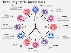 Clock Design With Business Icons Powerpoint Templates