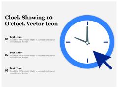 Clock Showing 10 O Clock Vector Icon Ppt PowerPoint Presentation Icon Vector PDF