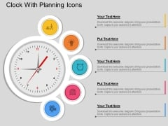 Clock With Planning Icons Powerpoint Template