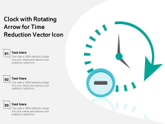 Clock With Rotating Arrow For Time Reduction Vector Icon Ppt PowerPoint Presentation Professional Ideas PDF