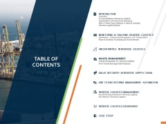Closed Loop Supply Chain Management Table Of Contents Ppt Infographic Template Elements PDF