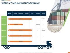 Closed Loop Supply Chain Management Weekly Timeline With Task Name Ppt Portfolio Themes PDF