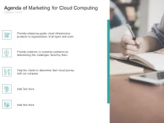 Cloud Based Marketing Agenda Of Marketing For Cloud Computing Organizations Ppt PowerPoint Presentation Show Graphics Example PDF