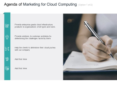 Cloud Based Marketing Agenda Of Marketing For Cloud Computing Ppt PowerPoint Presentation Portfolio Infographics PDF