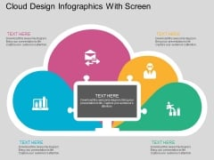 Cloud Design Infographics With Screen Powerpoint Template