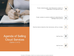 Cloud Services Best Practices Marketing Plan Agenda Agenda Of Selling Cloud Services Faced Information PDF