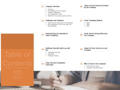 Cloud Services Best Practices Marketing Plan Agenda Table Of Contents Clipart PDF