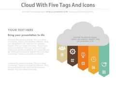 Cloud With Five Points And Icons Powerpoint Template