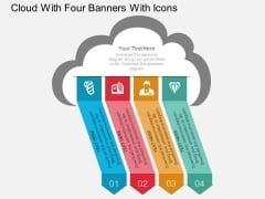 Cloud With Four Banners With Icons Powerpoint Template