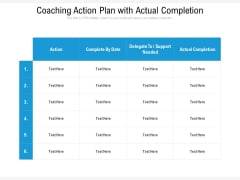 Coaching Action Plan With Actual Completion Ppt PowerPoint Presentation File Aids PDF