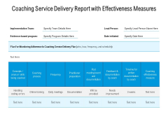Coaching Service Delivery Report With Effectiveness Measures Ppt PowerPoint Presentation File Examples PDF