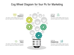 Cog Wheel Diagram For Four Ps For Marketing Ppt PowerPoint Presentation File Elements PDF