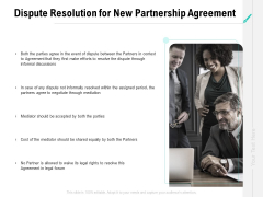 Collaboration Agreement Dispute Resolution For New Partnership Agreement Ppt Professional Templates PDF