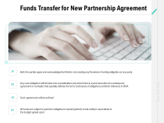 Collaboration Agreement Funds Transfer For New Partnership Agreement Ppt Summary Styles PDF