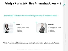 Collaboration Agreement Principal Contacts For New Partnership Agreement Ppt Styles Show PDF