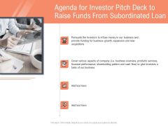 Collect Capital From Subordinated Loan Agenda For Investor Pitch Deck To Raise Funds From Subordinated Loan Icons PDF