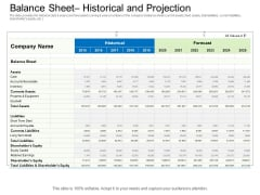 Collective Equity Funding Pitch Deck Balance Sheet Historical And Projection Background PDF