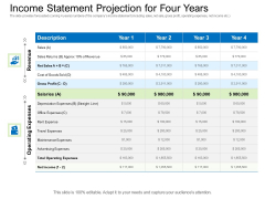 Collective Equity Funding Pitch Deck Income Statement Projection For Four Years Guidelines PDF