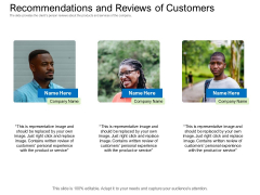 Collective Equity Funding Pitch Deck Recommendations And Reviews Of Customers Icons PDF