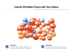 Colorful 3D Bubble Picture With Text Holders Ppt PowerPoint Presentation Gallery Deck PDF