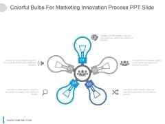 Colorful Bulbs For Marketing Innovation Process Ppt Slide