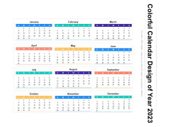 Colorful Calendar Design Of Year 2023 Ppt PowerPoint Presentation File Guidelines PDF